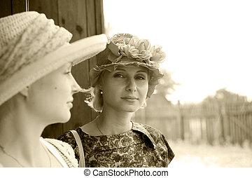 Beautiful young women in retro stile