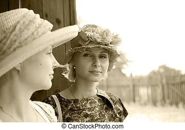 Beautiful young women in retro stil