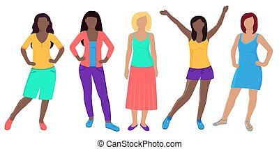 Beautiful young women of different nationalities. Five girls in fashionable clothes.
