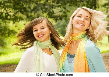 Beautiful young women outdoors
