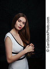 beautiful young women posing in studio
