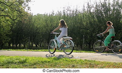 """Beautiful young women riding bicycles in city park. Active..."