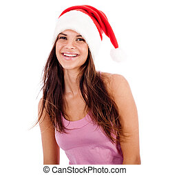 beautiful young women wearing santa\'s hat