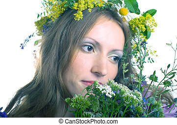 women with floral wreath