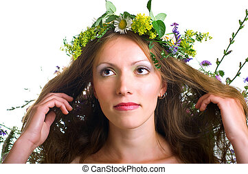 young women with floral wreath