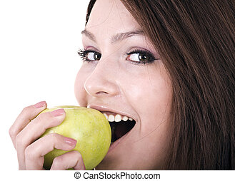 Beautiful young women with green apple. Isolated