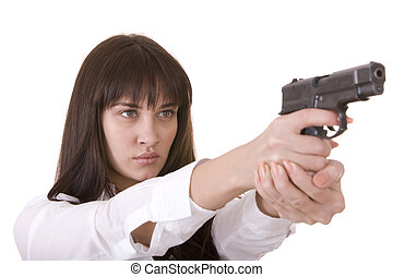 Beautiful young women with gun. Isolated.
