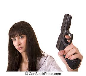 Beautiful young women with gun.