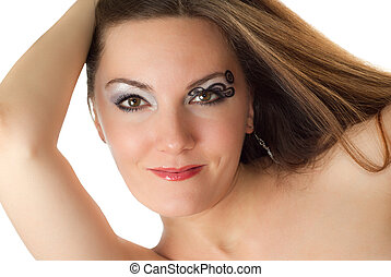 Beautiful young women with stylish creative makeup and body art on white background  Makeup, fashion, beauty