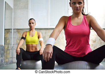 working out in the fitness studio