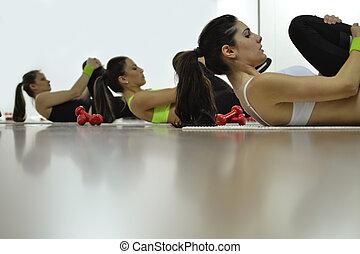 beautiful young women working out