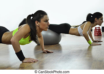 beautiful young women working out