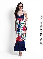beautifull, 婦女, 在, 藍色, 裙子