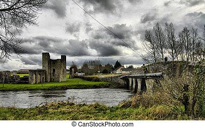 beautifull, 愛爾蘭, -, 修剪, 城堡, 以及, 環境