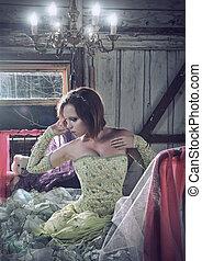 beautifull, 여자, 에서, 의복, 착석, 에서, 그만큼, 침대