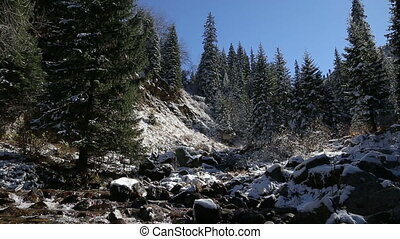 beautifull fairy mountain winter landscape with panorama of stormy spring mountain river waterfall bubbling fast