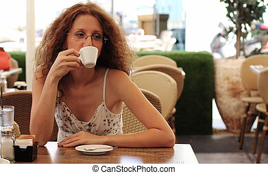 beautifull girl with cup of coffee