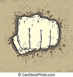 Beautifull illustration of fist in grunge style