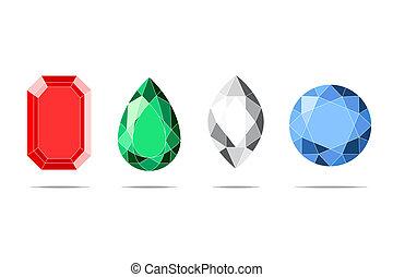 beautifull jewels on white backgorund (vector illustration)