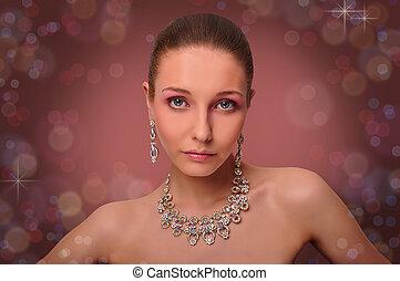 beautifull, kvinna, med, jewelry., hals