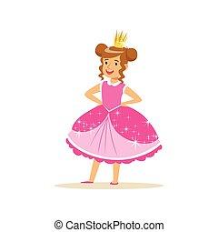 Beautifull little girl princess in a dark pink ball dress...