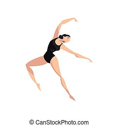 beautifull, magro, ballerina, ballo, in, nero, leotard,...