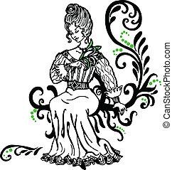 beautifull, mulher, com, um, lírio