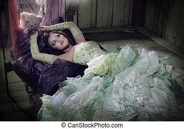 beautifull, mulheres, mentindo, em, a, cama
