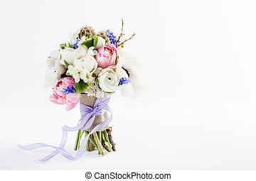 Beautifull spring bouquet with ribbon