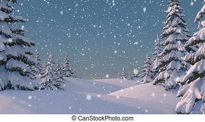 Beautifull Winter Background. Seamless looping 3d animation,...