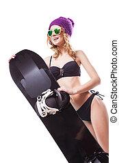 beautifull woman in bikini with snowboard