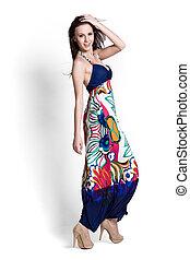 Beautifull woman in blue skirt - Glamour girl in dress on ...