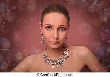 Beautifull woman with jewelry. Neck - Close-up portrait of a...
