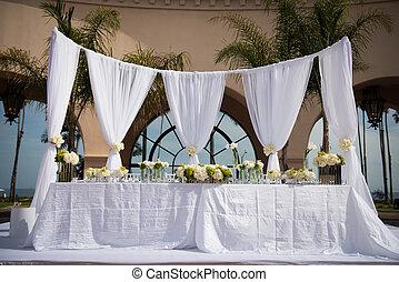 beautifully, adornado, boda, lugar