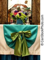 beautifully, adornado, tabla, para, un, boda
