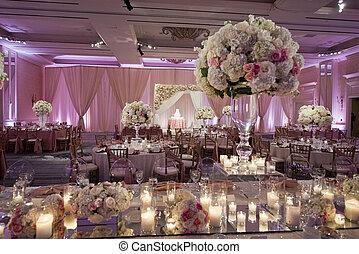 beautifully, décoré, mariage, salle bal