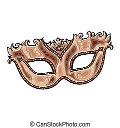 Beautifully decorated golden Venetian carnival mask with glitter and ornaments