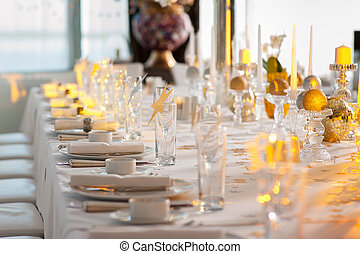 Beautifully decorated table with glass and plate