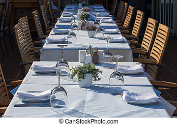 Beautifully decorated tables for peoples outdoors
