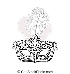 Beautifully decorated Venetian carnival mask with feathers and ornaments