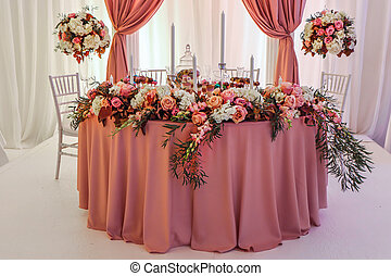Beautifully decorated wedding table with flowers and candles