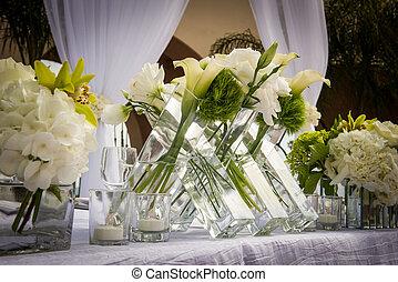 beautifully, dekorerat, mötesplats, bröllop