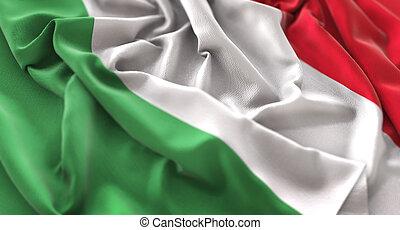beautifully, macro, italie, onduler, gros plan, a froissé, coup, drapeau