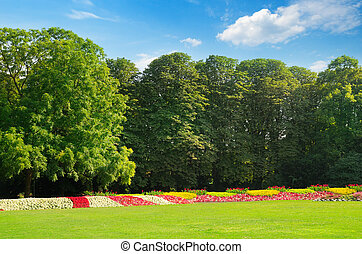 Beautifully manicured park garden in summer.