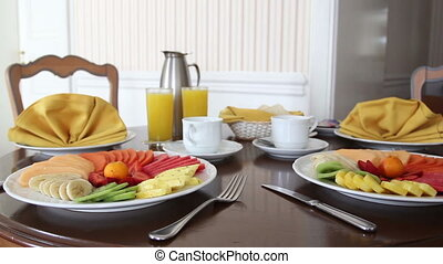 beautifully prepared and presented breakfast in a hotel room