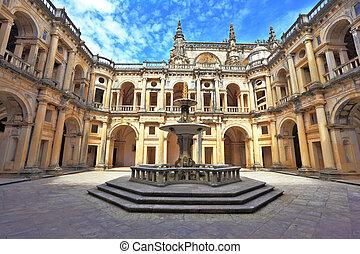 beautifully, preservado, castle., em, a, centro, -, um, chafariz