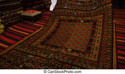 Beautifully woven carpet - A shot of a carpet made from...
