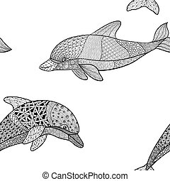 beautifulseamless pattern of monochrome black and white dolphin with decorative flourish element. Hand Drawn vector illustration isolated on background. Vintage sketch for tattoo design or mehandi