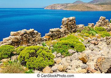 Beautify coast and quiet sea bay of Greek costline