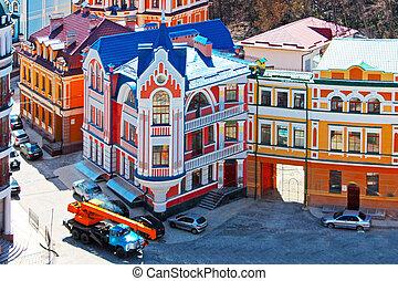 beautiufl, colorido, edifícios, em, kiev, levado, em,...